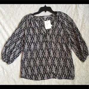 NWT Joie Silk Blouse XS, Black and Gray